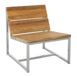 Mamagreen - Oko Casual 1-Seater - Oko Casual 1-Seater features 100% certified FSC recycled teak wood and stainless steel base frame. Oko Casual Seater offers a comfortable sit with its subtle pitch to the back and seat. The wide chunky reclaimed teak planks result in a simple, sleek design. Oko Casual seater with optional cushions in Sunbrella.