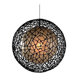 Large Hive C-U C-ME Round Lamp - A skeleton resembling a contemporary spider web encases this globe light, adding extra dimension and texture.
