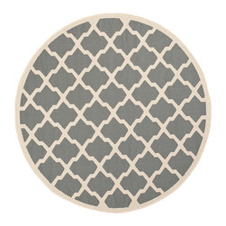 Safavieh - Courtyard Anthracite and Beige Round: 7 Ft. 10 In. x 7 Ft. 10 In. Rug - - Safavieh takes classic beauty outside of the home with the launch of their Courtyard Collection. Made in Turkey with enhanced polypropylene for extra durability these rugs are suitable for anywhere inside or outside of the house. To achieve more intricate and elaborate details in the designs Safavieh used a specially-developed sisal weave  - Pile Height: 0.25  - Construction: Machine Made  - Easy to Clean?Just sweep vacuum or rinse off with a garden hose. Safavieh - CY6903-246-8R