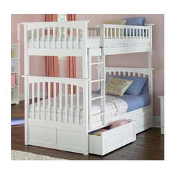 "Atlantic Furniture - Columbia Mission Style Twin Bunk Bed in Solid - Practical and functional, twin size bunk beds are the answer for active kids in small spaces. Mission styling offers solid craftsmanship and a design that will complement any decorating style. Solid hardwood offers long-lasting use. * Columbia Design. Constructed from solid Asian hardwood. Mission style with square posts and slats. Complete with 2 - 14 piece hardwood slat kit and clip on ladder. Clearance from floor without trundle or storage drawers: 11.25 in.. 68"" H x 44-59"" W x 81"" D, 170 - 200 lbs packed. Underbed drawers not included. Mattresses not included. Bunk Bed Cautions. Please read before purchase."