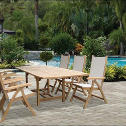 "Fifthroom - 72"" Teak Rectangular Expansion Table and Florida Chair Set -"