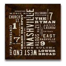 Transit Design - Nashville Art Sign. Nashville Neighborhoods, 24 X 24 - This Nashville Art Sign highlights some of the city's most popular neighborhoods and attractions. Stretched canvas with a warm, aged appeal and classic typography.