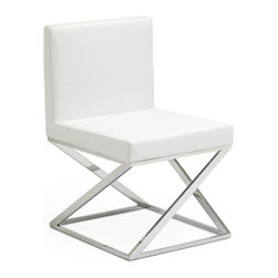 Nuevo Living - Toulon Dining Chair in White Leather by Nuevo - HGTA486 - The Toulon dining chair in white leather features Italian leather with CFS foam and a high polish stainless steel frame.