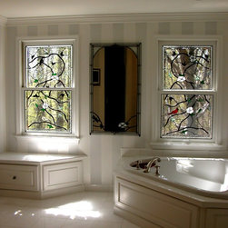 Decorative Glass Solutions - Birds Lash - Leaded and Beveled stained glass windows and stained glass mirror for master bath