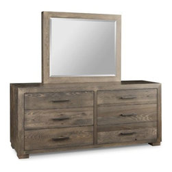 Steel City Dresser & Mirror - Handstone. 33w x 18d x 33h. Mirror optional. Available for order at Warehouse 74.