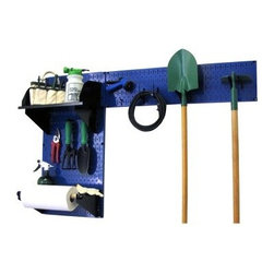 Wall Control Pegboard Garden Tool Board Organizer Kit - Blue - The Wall Control Pegboard Garden Tool Board Organizer Kit – Blue helps keep your seasonal tools from moisture and other wintertime hazards by keeping them off the ground and organized. The two pegboard panels included in this set easily mount to any wall with the included installation hardware, each made from 20-gauge steel and featuring a powder-coated, scratch-resistant blue finish. Two shelves – a 9-inch and a 4-inch unit – are provided for chemicals, spray bottles, and other small equipment; dividers and a dowel assembly also provided. A starter assortment of hooks is included, including 2 handle hangers and 2 U hooks. The accessories are available in your choice of black, red, blue, or white. Tools are not included.About Wall Control For over a decade, Wall Control have provided home handymen and do-it-yourselfers with simple, easy-to-install wall storage available in a variety of colors and styles to suit any room in your home. Domestically based in Tucker, Georgia, Wall Control ensures quality American craftsmanship that's guaranteed to last a lifetime and looks great while doing so. Its patented designs are here to make your life easier, made from sturdy materials that let you customize any room in your home the way you see fit.