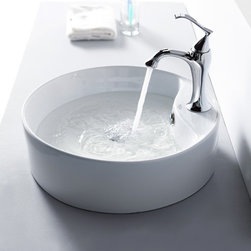 Kraus - Kraus White Round Ceramic Sink and Ventus Basin Faucet - Add a touch of elegance to your bathroom with a ceramic sink combo from Kraus