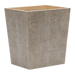 """Pigeon & Poodle - Pigeon & Poodle Goa Sand Rectangle Wastebasket - Pigeon & Poodle creates a collection of inspired home accessories for the modern interior. Elegant and eclectic, the Goa waste basket complements a bathroom or bedroom with an alluring design. A simple rectangular silhouette, this wooden veneer, sand beige container combines an striking carved boa print and contrasting trim. Reflecting a handmade artistry, slight variations may occur. 10""""W x 8""""W x 11""""H."""