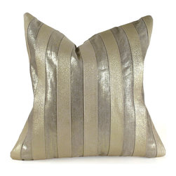 "Pfeifer Studio - Metallic Stripe Pillow, Gold, 16"" x 16"" - These glamorous pillows are created by sewing strips of embossed metallic leather with metallic foiled linen. They have a matching metallic linen back and are fitted with amedium-fill feather and down inner. Our pillows are each individually handmade-to-order using natural materials, each is considered unique and one-of-a-kind."