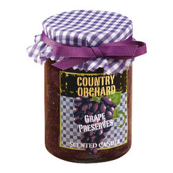 "Deco Glow - Country Orchard ""Concord Grape Jelly Preserves"" Candle, Set of 4 Gift TEST - If  you  ever  stood  in  Grandma's  kitchen  while  she  was  steaming  her  concord  grapes  for  jelly,  you  haven't  smelled  one  of  the  heavenliest  scents  known  to  man.  Not  to  worry.  This  coungry  orchard  concord  grape  candle  will  bring  Grandma's  kitchen  home  to  yours.  Each  grape  jelly  scented  jar  candle  in  this  pack  makes  a  great  gift,  and  they  are  so  cute,  you'll  want  to  keep  one  for  yourself  too.  It  will  settle  in  nicely  on  that  barnwood  shelf  in  your  country  kitchen,  or  it  makes  a  great  seasonal  gift.  4  jar  candles  included  in  each  shipment."