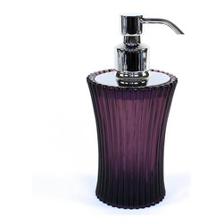 Gedy - Round Glass Soap Dispenser, Purple - A free stand contemporary soap pump that is made in glass and finished in transparent, purple, anthracite, or sky blue. Part of the Plisse collection by Gedy, this luxury lotion/soap dispenser will fit perfectly into more contemporary & modern bathrooms. Manufactured in and imported from Italy by Gedy. Luxury transparent, purple, anthracite, or sky blue liquid soap dispenser pump. Contemporary & modern free stand soap pump. For contemporary & modern settings. From the Gedy Plisse collection. Manufactured in and imported from Italy.