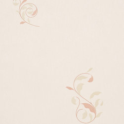 Romosa Wallcoverings - Beige / Green Floral Dancing Notes Wallpaper - - Color: Beige / Green
