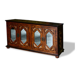 Koenig Collection - Tuscan Sideboard Mirrors, Fresco Brown Distressed W/ Subtle Scrolls And Diamonds - Tuscan Sideboard Mirrors, Fresco Brown Distressed W/ Subtle Scrolls and Diamond Mirror Doors