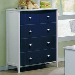 Sunset Trading - Sunset Trading New Jersey 5 Drawer Chest Multicolor - GRM-8903-WN - Shop for Dressers from Hayneedle.com! The Sunset Trading New Jersey 5 Drawer Chest is almost as smart and cute as your kid. 5 drawers is ideal for kids. The New Jersey collection is made of durable engineered wood with a crisp painted navy and white finish both boys and girls will love. Chest dimensions: 35W x 19.25D x 48H inches product weight 107 lbs. This chest works well alone or match it to the cute kids stairway loft bed. See Related Items below. About Sunset TradingThis product is designed and manufactured by Sunset Trading. Located in Londonderry New Hampshire Sunset Trading creates high quality furniture for bedrooms living and dining rooms. Their furniture features side roller drawer guides four corner English dovetails solids and veneers. Dining rooms feature epoxy resin constructed chairs with metal support brackets which make their chairs 100 times stronger than glued chairs. Rest assured you're making an excellent choice when you purchase a fine furniture item from Sunset Trading.