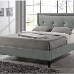 Baxton Studio Russo Modern Tufted Grey Platform Bed -