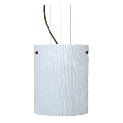 Besa Lighting - Besa Lighting 1KG-4006OS-LED Tamburo 1 Light LED Cable-Hung Pendant - Tamburo is a classic open-ended cylinder of handcrafted glass, a shape that will stand the test of time. Our Opal Stone glass is a white blown glass with an outer texture of coarse sandstone. Inspired by the elements of nature, the appearance of the surface resembles the beautiful cut patterning of a rock formation. The soft white color can suit any modern or classic decor. The smooth satin finish on the clear outer layer is a result of an extensive etching process. This blown glass is handcrafted by a skilled artisan, utilizing century-old techniques passed down from generation to generation. Each piece of this decor has its own artistic nature that can be individually appreciated. The cable pendant fixture is equipped with three (3) 10' silver aircraft cables and 10' AWM cordset, and a low profile flat monopoint canopy.Features: