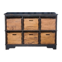 Silver Nest - Tony Tray Cubby Shelving - Craftsman built of select hardwoods hand finished in worn black with six solid mahogany dovetail bins. Keep handle openings facing out for ease of use, or turn to show solid sides for more concealed storage.