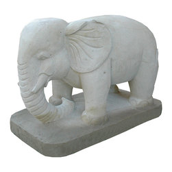 Kathy Kuo Home - Appu Large Carved Gray Stone Garden Elephant- Large - Give a nod to memory and excellent style with this classy elephant sculpture. This sleek stone piece would work well indoors, greeting your guests calmly in the foyer, or in your garden, emanating peace to all who visit.