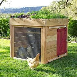 Barnyard Chicken Coop - The green roof and sliding barn door make this coop stand out. It is small though, so it should be used for a small flock that gets to free range every day. Or it could be a secondary coop for keeping a sick hen apart from the rest.