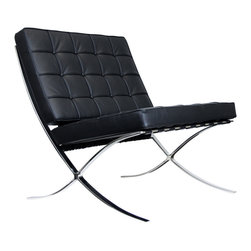 IFN Modern - Barcelona Chair Reproduction - Aniline Leather, Black - Our Barcelona chair reproduction was inspired by Mies Van Der Rohe's mid-century furniture. The main source of inspiration for this piece comes from the 1929 German Pavilion where Mies and Lilly Reich showcased a gorgeous chair now known worldwide as the Barcelona Chair.