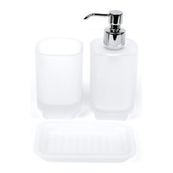 Joy 3-piece Bathroom Accessory Set By Gedy - Frosted glass three-piece accessory set. Set includes soap dispenser with a polished chrome pump, toothbrush holder and soap dish.