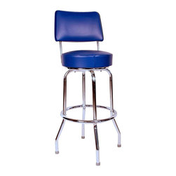 Richardson Seating - Richardson Seating Retro 1950s Swivel Bar Stool with Blue Seat-24 Inch - Richardson Seating - Bar Stools - 1957BLU24 - Richardson Seating Floridian's Floridian collection ships within 2 business days as quick ship items. The 50's retro look bar stool collection is back with added comfort and stylish design. The Floridian collection are commercial bar stools made in the USA, and equally ideal for residential use.