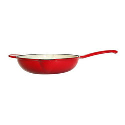 """Le Chef Cookware - Le Chef Enamel Cast Iron Deep Skillet, Cherry Red, 11"""" - LeChef Cookware® porcelain enameled coating cast iron skillet is cast from molten iron in individual sand molds. The enameled interior surface of this skillet eliminates the need to season cast iron. The cast iron vessel has superior heat distribution and retention, evenly heating bottom and sides' even. This skillet can be used on almost every cooktops, even in oven. However, it is not recommended to use in microwaves, outdoor grills or over open outdoor flames. The excellent heat retention reduces the amount of energy needed for cooking. In addition the hard and glossy porcelain enameled surface is chip resistant and easy to clean. Hygienic porcelain enamel is non-reactive with food. Although dishwasher safe, hand washing with warm soapy water is recommended to preserve the cookware's original appearance."""