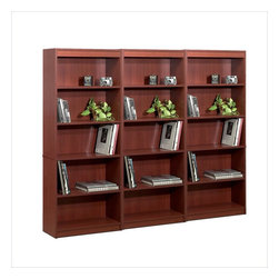 Bestar - Bestar 5 Wall Bookcase in Bordeaux - Bestar - Bookcases - 6571539PKG - Bestar 5 Shelf Bookcase in Bordeaux (included quantity: 3)