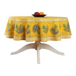 "Provence Imports - French Provencal Tablecloth - Bouquet Yellow - Round - This tablecloth will add a French Provençal touch to your decor! This tablecloth features a beautiful ""placé"" design with lavender bouquets and green scrollwork on a yellow background. ""Placé"" means the design is printed following the shape of the table and not in straight lines."