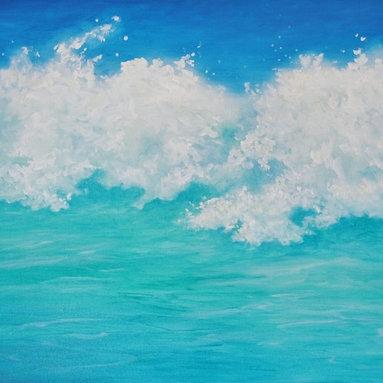 "Original Tropical Seascape Oil Painting (Water #3) - Water #3 is an original 30""x40"" tropical oil painting on gallery wrap canvas"