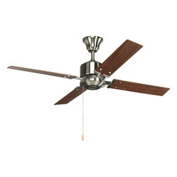 "Progress Lighting - Progress Lighting P2531-09 North Park 52"" 4-Blade Brushed Nickel Ceiling Fan - 52"" four-blade Fan with reversible Natural Cherry/Cherry blades and a Brushed Nickel finish. The North Park ceiling fan offers great performance and value. This contemporary styled fan features a powerful, 3-speed motor that can be reversed to provide year-round comfort. Includes innovative canopy system that can be installed on vaulted ceilings up to 12:12 pitch."