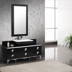 Fresca - Fresca Moselle Modern Glass Bathroom Vanity - With a glass exterior, steel frame, and Massacar ebony drawers, the materials of this vanity will bring your bathroom up to a level of luxe. The ceramic sink adds just a touch of softness to an overall modern piece.