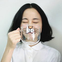 Cat Animal Glass Cup/Mug - Turn into a bunny every time you take a sip from this hysterical cup.