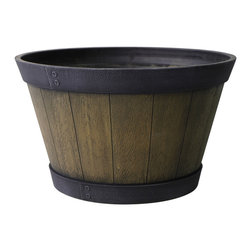 Aged Oak Indoor-Outdoor Planter - This aged oak planter is beautiful with its wide black rim and dark wood barrel. I think it would look lovely with vibrant seasonal flowers.