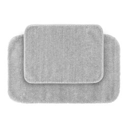 None - Plush Deluxe Frost Grey Bath Rug 2-piece Set - Relish the luxurious softness of the Plush Deluxe bathroom collection with this convenient set of two grey bath rugs. The rugs add a tasteful color to bathroom space and feature safe non-skid backing.