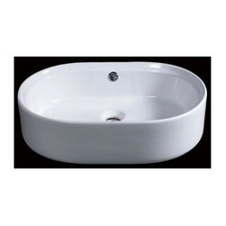 Eago - 22 in. Oval Ceramic Above Mount Basin - Oval, above mount high quality porcelain basin. Chrome overflow. Rear center drain. Dimensions: 21 5/8in. x 15in. x 6 1/8in.