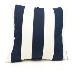 Majestic Home - Outdoor Navy Blue Vertical Stripe Large Pillow - Add a splash of color and a little texture to any environment with these great indoor/outdoor plush pillows by Majestic Home Goods. The Majestic Home Goods Large Pillow will add additional comfort to your living room sofa or your outdoor patio. Whether you are using them as decor throw pillows or simply for support, Majestic Home Goods Large Pillows are the perfect addition to your home. These throw pillows are woven from Outdoor Treated polyester with up to 1000 hours of U.V. protection, and filled with Super Loft recycled Polyester Fiber Fill for a comfortable but durable look. Spot clean only.