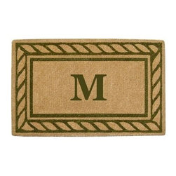 Creative Accents Heavy Duty Coir Mat Rope Border with Monogram - Add elegance and sophistication to your home with the Nedia Enterprises Heavy Duty Coir Mat Rope Border with Monogram. Crafted from naturally harvested coir fibers, this mat is hand woven using traditional looms and then sheared to create a dense pile that helps to clean shoes and trap dirt and moisture. It's hand-tufted fibers and heavy coir fiber backing also helps to keep the mat in place and locks the fibers in place to minimize shedding. Fade-resistant dyes are used so you can enjoy the vibrant colors and pattern for years. Coir is a renewable resource and the mat is completely biodegradable and compostable. Best used in sheltered areas, such as a covered porch, this mat can cause color transfer to natural stone, concrete, and other surfaces if it's excessively exposed to the elements. Naturally mold- and mildew-resistant, this gorgeous mat will have some slight variations in size, color, and texture, giving each mat its own unique characteristics. It's also normal for the mat to shed fibers during the first few weeks it's used. Optional monogramming is available. Additional Features Coir fibers are a renewable resource Mat is biodegradable and compostable Designs are hand stenciled on the mat Made with fade-resistant dyes Best used in sheltered areas Avoid exposure to extreme moisture and sunlight Excessive exposure can cause color transfer Variations in size, color, and texture are normal Mat will shed fibers the first few weeks Clean by occasionally giving a good shake Optional monogramming is available Can be used indoors or out