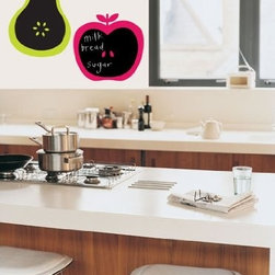 Chalkboard Apple and Pear Decal Stickers - A neon pear and apple will set the menu for the day. I love these!