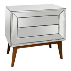 Worlds Away - Dean Chest - Two drawer small chest with Mid Century base.