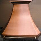 Copper range hood - Cresent mitre - Custom copper range hood with brass pot rail