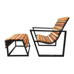 """Shiner - Shiner Friend Chair, Steel, Cherry - Modern, eco-friendly furnishings made in Atlanta, Georgia. Our goal is to transform tons of landfill-destined materials into killer designs. By building pieces out of disposable elements, we refine the future by upcycling the past. Everything from the steel, hardwoods, and cardboard to our lexan and linen is diverted from the incinerator. We strive to make every piece knock-down for ease of shipping with less environmental impact. This piece is a carbon steel frame your choice of blackened or brushed steel with wood in your choice of Pine, Oak, Walnut, or Calico (all woods). The Friend Chair measures 32""""Wx31.5""""Dx34.5""""H and can be used indoors or outdoors."""