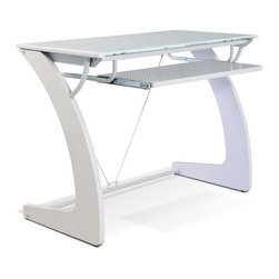 Jesper - Jesper - Tribeca Collection - White Glass Writing Desk With Keyboard Tray - Made with durability in mind, desk with built-in keyboard tray. The contemporary desk is made with a wooden frame and a pure glass top. Materials: Glass, MDF, Steel.