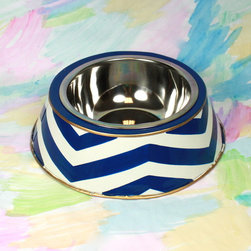 Navy Chevron Dog Bowl - Don't forget about Fido while relaxing outdoors. This hand-painted dog bowl features my favorite pattern: chevron.
