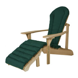 All Things Cedar - Cedar Adirondack Ottoman Set + Green Cushion - With its form fitting seat, wide arm paddles and contoured back this handcrafted Adirondack chair offers the ultimate in design and comfort. Item is made to order.
