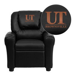 "Flash Furniture - Texas at Brownsville Scorpions Black Leather Kids Recliner with Cup Holder and H - Get young kids in the college spirit with this embroidered college recliner. Kids will now be able to enjoy the comfort that adults experience with a comfortable recliner that was made just for them! This chair features a strong wood frame with soft foam and then enveloped in durable leather upholstery for your active child. This petite sized recliner is highlighted with a cup holder in the arm to rest their drink during their favorite show or while reading a book. University of Texas at Brownsville and Texas Southmost College Embroidered Kids Recliner; Embroidered Applique on Oversized Headrest; Overstuffed Padding for Comfort; Easy to Clean Upholstery with Damp Cloth; Cup Holder in armrest; Solid Hardwood Frame; Raised Black Plastic Feet; Intended use for Children Ages 3-9; 90 lb. Weight Limit; CA117 Fire Retardant Foam; Black LeatherSoft Upholstery; LeatherSoft is leather and polyurethane for added Softness and Durability; Safety Feature: Will not recline unless child is in seated position and pulls ottoman 1"" out and then reclines; Safety Feature: Will not recline unless child is in seated position and pulls ottoman 1"" out and then reclines; Overall dimensions: 24""W x 21.5"" - 36.5""D x 27""H"