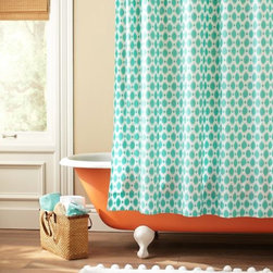 Ikat Dot Organic Shower Curtain - The aqua Ikat dots of this shower curtain are so fun! I love how the curtain pops against the orange claw-footed tub. While this might be in a teen furniture catalog, I think the pattern would work for any bathroom.