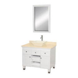 Wyndham Collection - Eco-Friendly Bathroom Vanity with Bone Porcelain Sink - Includes natural stone counter, backsplash, one vessel sink and matching mirror. Faucets not included. Engineered to prevent warping and last a lifetime. Highly water-resistant low V.O.C. finish. 12 stage wood preparation, sanding, painting and finishing process. Floor standing vanity. Deep doweled drawers. Fully extending bottom mount drawer slides. Soft close concealed door hinges. Single hole faucet mount. Plenty of storage space. Brushed steel leg accents. Metal hardware with brushed chrome finish. Two doors and two drawers. Ivory marble top. Made from zero emissions solid oak hardwood. White finish. Vanity: 36 in. W x 22.5 in. D x 36 in. H. Mirror: 24.25 in. W x 36.25 in. HCutting edge, unique transitional styling. A bridge between traditional and modern design, and part of the Wyndham Collection Designer Series by Christopher Grubb, the Premiere Single Vanity is at home in almost every bathroom decor, resulting in a timeless piece of bathroom furniture.