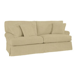 Ballard Designs - Suzanne Kasler Signature 13oz Linen Davenport Sofa Slipcover - Coordinates with Suzanne's linen panels, tablecloths & pillows. Easy to change with the seasons & to remove for cleaning. Dry clean. Imported. Suzanne's best-selling line of luxurious linens now include slipcovers designed exclusively to fit our best-selling Davenport Sofa. Hand finished with strong, over-locking seams and custom fitted to prevent shifting and bunching. A Davenport Slipcover is necessary when ordering any Davenport frame.Suzanne Kasler Davenport Sofa Slipcover features: . . . .