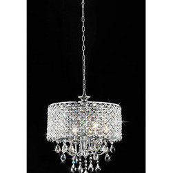 """WAREHOUSE OF TIFFANY - Angelina Crystal Chandelier - This Angelina Crystal Chandelier creates a glamorous sparkling pendant that complements your modern look. Made of clear crystal, metal, stands 17""""W x 16""""H, uses 4 x 60W bulb type E14 which includes 40"""" chain."""